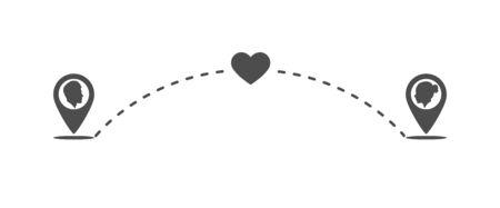 Love icon at a distance. Flat design. Archivio Fotografico - 133435759