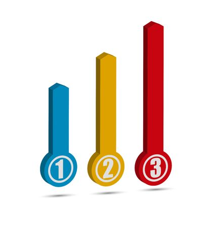 Volume arrow with numbering to illustrate charts and graphs.
