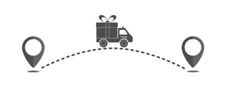 Delivery icon from one point to another. Flat design. Stok Fotoğraf - 133435776