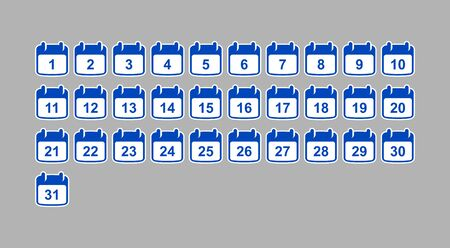 set of calendar icons with numbers from 1 to 31. Flat design. Stock Illustratie