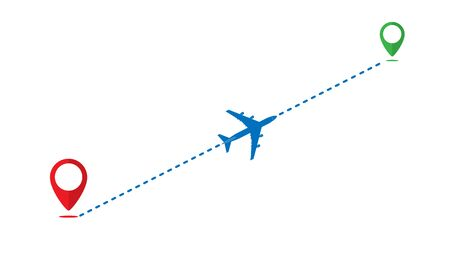 icon path of the aircraft from one point to another. The route of the aircraft.