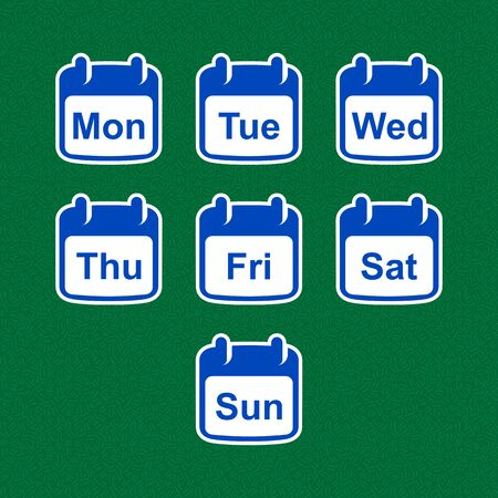 Set of calendar icons with days of the week. Flat design. Stock Illustratie