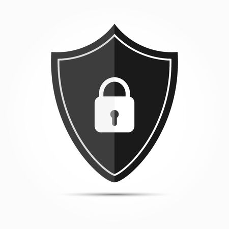 Shield icon with a closed lock. Flat simple design.