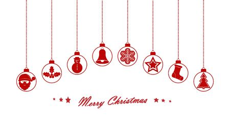 Festive Christmas background with balls and Christmas symbols. Stock Illustratie