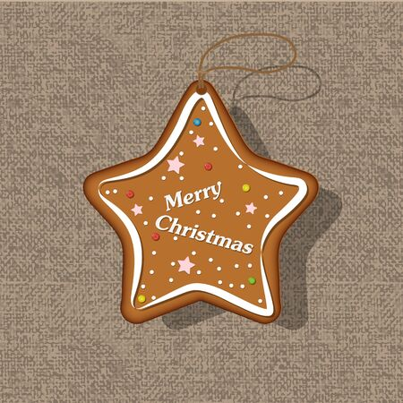 Cookies in the form of a Christmas star. Christmas homemade cookies. Stock Illustratie