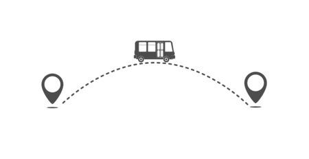 icon path of the bus from one point to another. The route of the bus. Flat simple design.