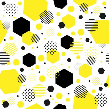 Seamless pattern of yellow and black dots. the template for the texture, packaging and textiles.