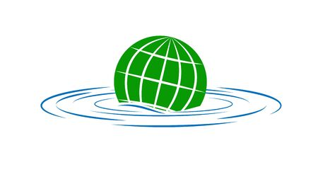 earth sinks into the water. The theme of environmental security and global warming. The logo or icon for your website and applications. Stock Illustratie
