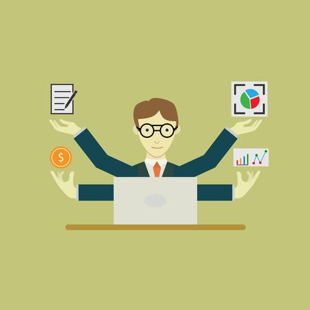 An employee performs many functions in the workplace. flat design