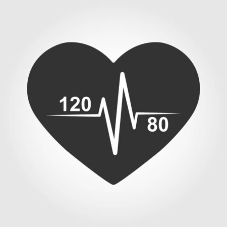 Icon of normal heart and blood pressure 120 by 80 on the background of the silhouette of the heart. Medical-themed badge or logo Ilustração