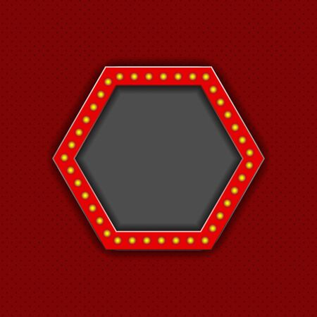 Frame with light bulbs and with space for text or photo. red background.