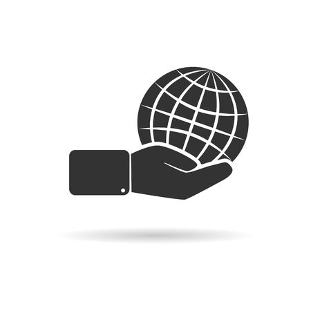 globe is on hand. Icon or logo for a website or application. Suitable for the theme of environmental safety, global warming, environmental protection. The logo or icon for your website and applications.