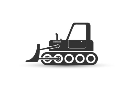 Heavy bulldozer icon for layer-by-layer digging, planning and moving of soils. Flat design. Black icon on white background.