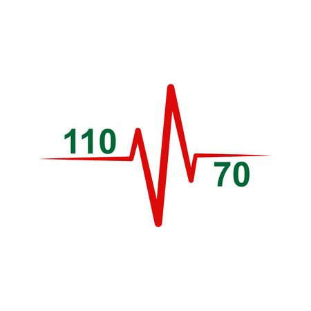 Icon of normal heart and blood pressure 110 to 70. Medical-themed badge or logo Stock Illustratie