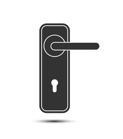 Black door handle icon on white background. Flat design. 일러스트