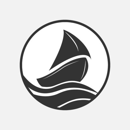 Boat with sail on the waves, flat design. Stockfoto - 134412580