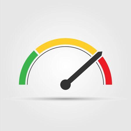 Speedometer, tachometer or gauge icon, flat design.