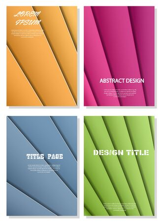 Set of colored abstract backgrounds for decorating books, brochures and booklets. Format A 4. Иллюстрация