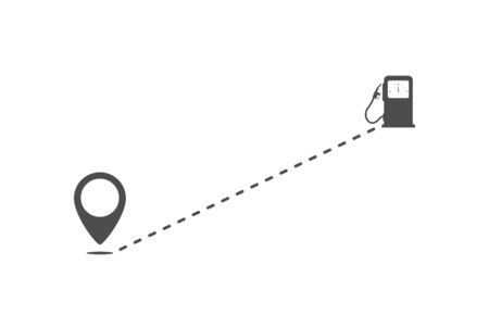Icon of the route from point to filling stations. Flat simple design. Иллюстрация
