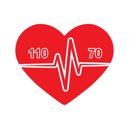 Icon of normal heart and blood pressure 110 by 70 on the background of the silhouette of the heart. Medical-themed badge or logo