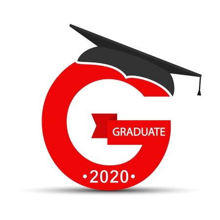 character of the graduate. The letter G with the cap of the graduate, the inscription graduate 2020. Flat design.
