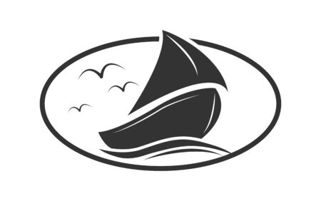Boat with a sail on the waves. Simple design