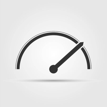Speedometer, tachometer or gauge icon, flat design.