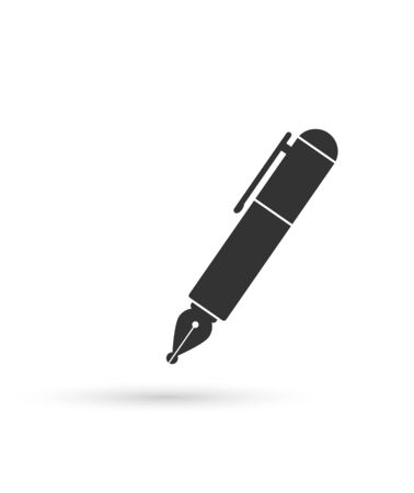 simple icon of a pen with the ink pen, flat design.