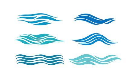 Wave. Set of images of the wave design, flat design.