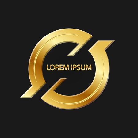 Abstract gold logo on black background for design and decoration