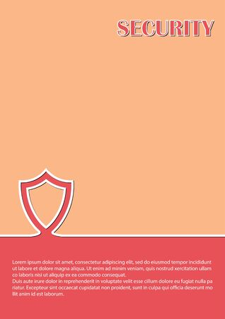 Background with shield, security badge for booklets, advertisements and other printed products. Simple design. Ilustracja