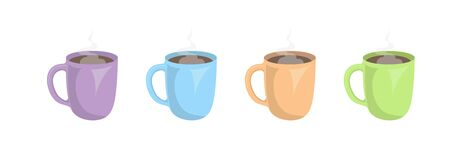 Set of colored cups with hot drink. Flat design. Ilustracja
