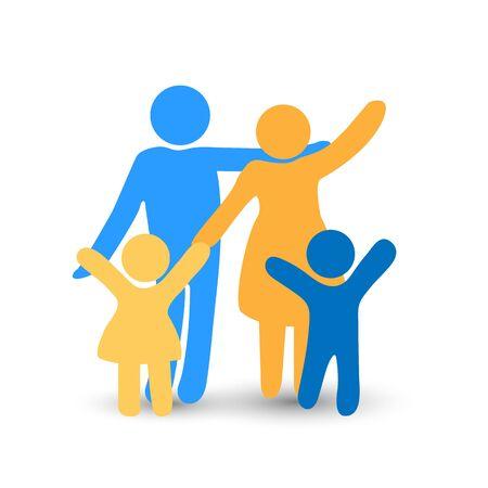 Happy family. Parent with children. Flat design.. Ilustração