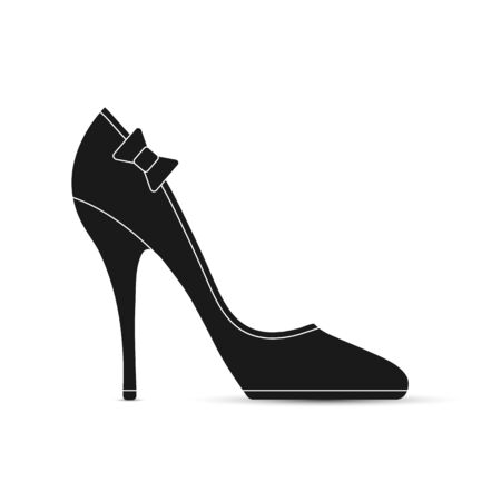 Womens shoes with a bow. Flat design.