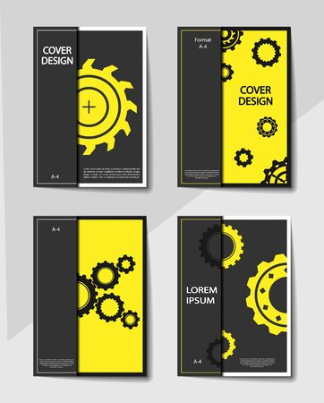 Editable cover design, A4 format. Abstract background with gears for the design of the cover, screen saver, for applications and websites, for business cards, posters and other printed products. Vectores