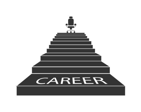 Career ladder. The stairs lead up to the Executive chair. Flat design.