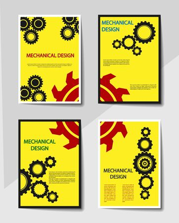 Editable cover design, A4 format. Abstract background with gears for the design of the cover, screen saver, for applications and websites, for business cards, posters and other printed products. Ilustracja