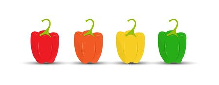 Set of colored sweet bell peppers. Flat design. Ilustracja