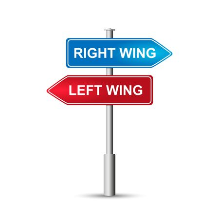 Political concept. Signs signs on the pole, road sign with the word RIGHT WING and LEFT WING. Isolated on white background. Ilustracja