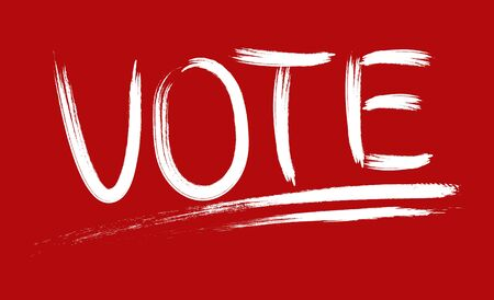 Political concept. The word VOTE is written with a brush with white paint on a red background. Isolated on red background.