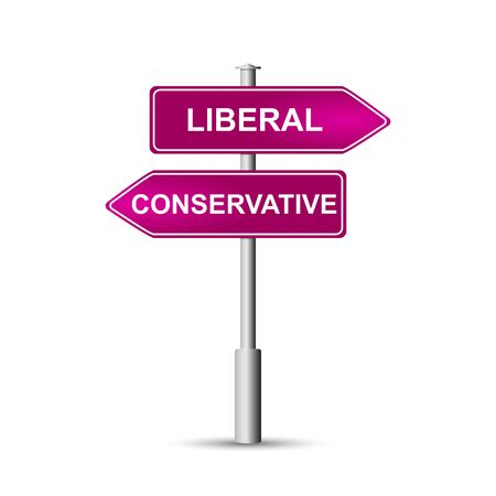 Political concept. Signs on a pole, a road sign with the word LIBERAL and CONSERVATIVE. Isolated on white background. Ilustracja