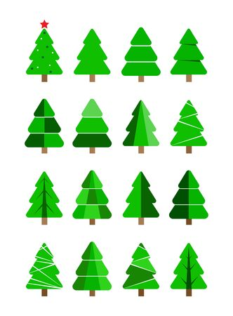 Set of Christmas and new year symbols. Christmas and new year trees, flat design. Ilustracja
