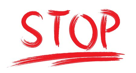word STOP is written with a brush with red paint on a white background. Isolated on white background.