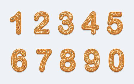 Set of holiday cookies in the form of numbers with icing and colored sprinkles. Isolated on light background