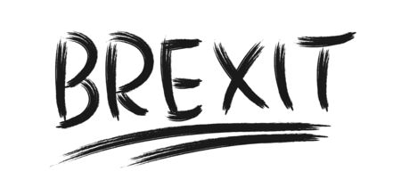 Political concept. The international question of the United Kingdoms exit from the European Union. The word BREXIT is written with a brush with black paint on a white background.
