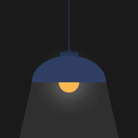 Color vector drawing, lampshade with a light bulb illuminates a dark space. Simple flat design