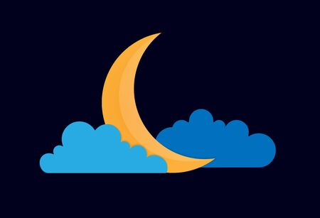 Color vector drawing of a quarter moon in the clouds on the night dark blue sky.