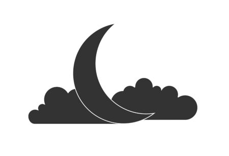 quarter moon in the sky, flat design. Simple flat design