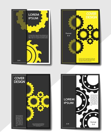 Editable business cover design with gears. Mechanical design for brochures, presentations and any publications. Ilustracja