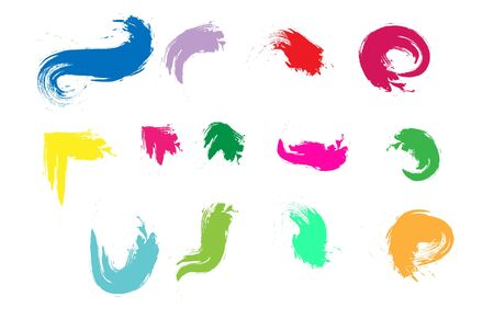 set of brush strokes with colored paint. Isolated on white background. Flat design Ilustracja
